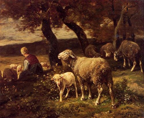 油画中的羊